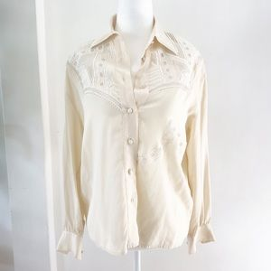 SUZELLE Vintage 100% Silk Cream Blouse Embellished